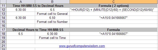 How to convert Time HH:MM:SS to Decimal Hours in Excel